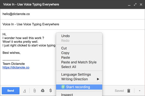 use voice in to dictate email in gmail